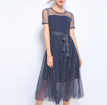 Spring and summer new style Thin fake two-piece dress New fashion striped Large size
