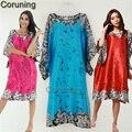 RB072 Moda Mulheres Camisolas De Cetim Casa de Verão Flor Vestido de Pijamas Sleepshirts Nightdress Solto Confortável Mulheres Nighgt