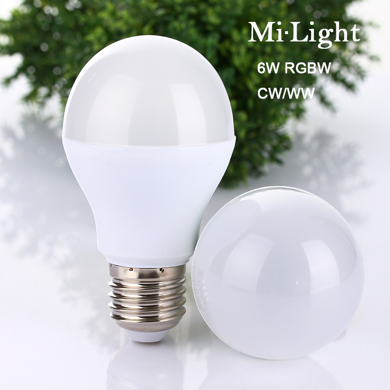 Mi Light 2.4G AC86-260V E27 6W Wifi RGBW WW CW LED Lamp Wireless Brightness adjusting color changing Dimmable LED Bulb new dc5v wifi ibox2 mi light wireless controller compatible with ios andriod system wireless app control for cw ww rgb bulb