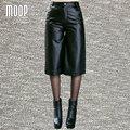 Black genuine leather pants 100%lambskin calf-length pants leather trousers pantalon femme pantalones mujer LT859 FREE SHIPPING