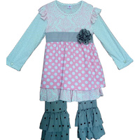 Hot Sale Giggle Moon Girls Fall Boutique Clothing Pink Full Sleeve Ruffle Polka Dot Outfis Remake Kids Winter Clothes  F017
