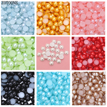 ZOTOONE 1000PCS 2-6MM Pearl Trim Steentjes DIY Resin Half Round Beads Flat Back Gems Nail Art Decoration B