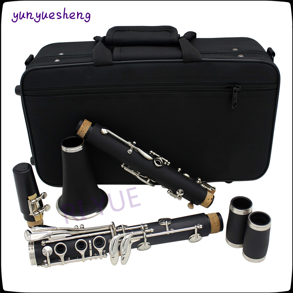 High quality B the 17 key clarinet of white brass nickel plated key,ABS pipe body material eight kinds of color can choose