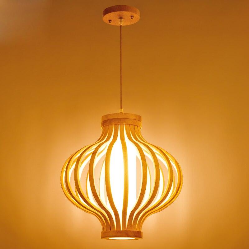 Suspension en bois oignon AC E27 Moder suspension pour salon étude pendaison Duplex Antique Simple éclairage à la maison Luminaire G062