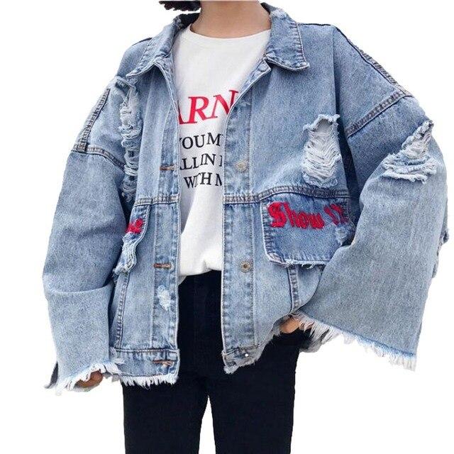 6c5aedc5c07e5 2018 new spring autumn winter Loose fashion popular ripped women denim  Jacket baggy ladies female jean Jacket Cheap wholesale