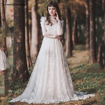 Abiti da sposa2019 new high neck lace long sleeve A Line ivory boho wedding dress trailing brautkleid retro robe de mariee