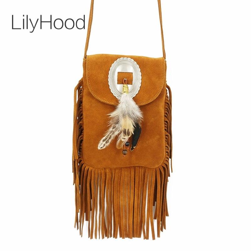 LilyHood 2018 Women Genuine Leather Small Fringe Shoulder Bags Bohemian Folk Indian Ibiza Style Boho Chic Hippie Gypsy Music Bag