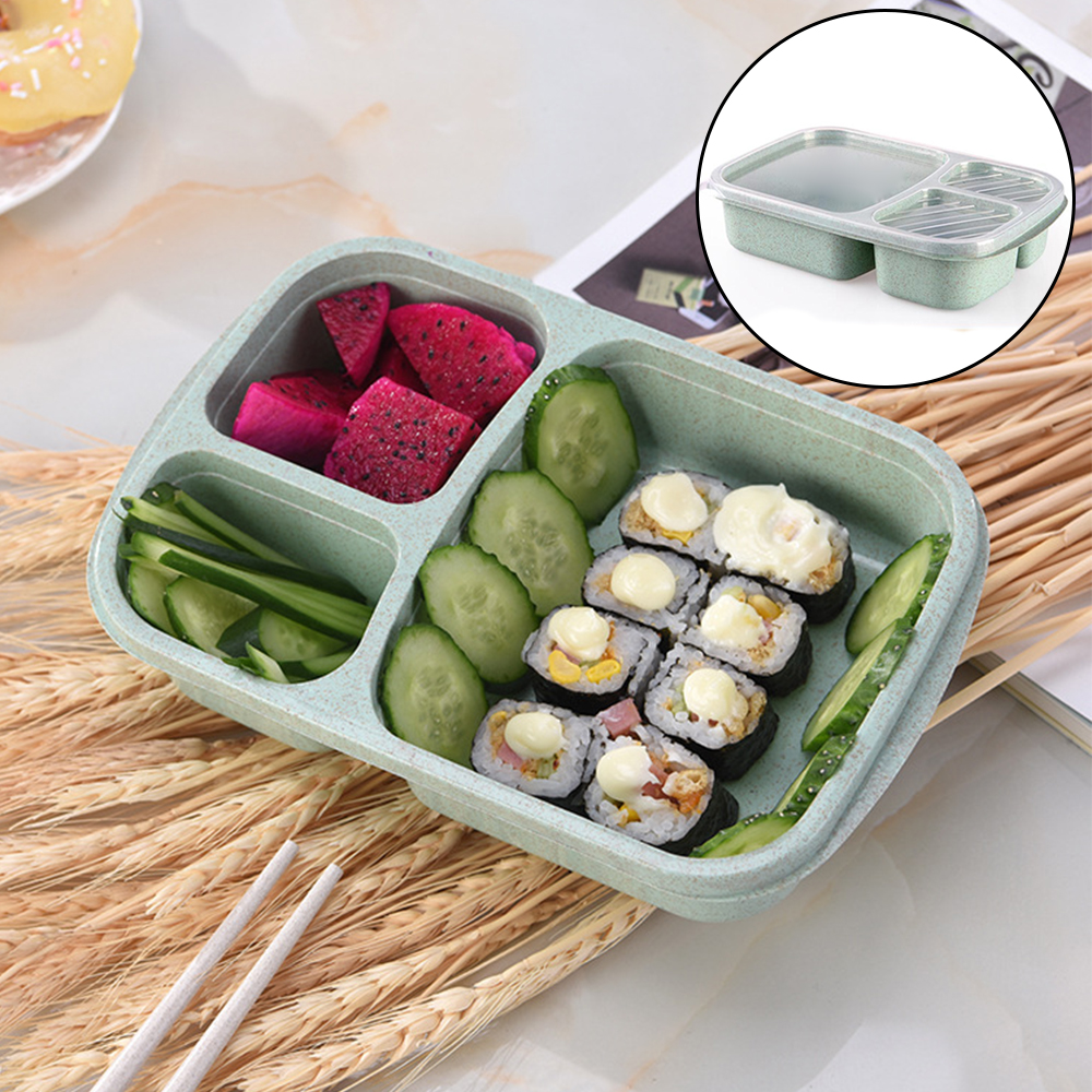 3 grid wheat straw bento box with lid microwave food box biodegradable storage container lunch. Black Bedroom Furniture Sets. Home Design Ideas