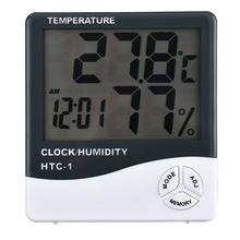 Digital Thermometer Hygrometer Indoor Room Electronic LCD Temperature Humidity Meter Weather Station Alarm Clock HTC-1