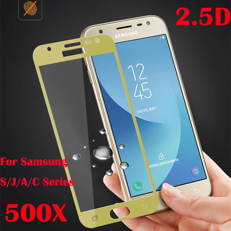 500pcs Full Coverage 2.5D Edge Tempered Glass Screen Protector LCD Safe Guard Film for Samsung S7 J5 J7 Prime A7 2017 C7 C9 A9