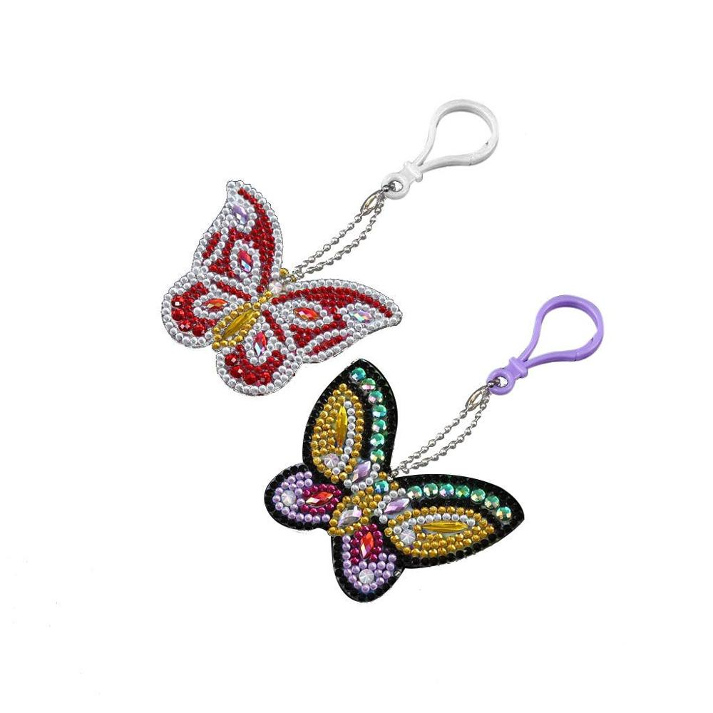 2pcs set DIY Keychain Diamond Painting Butterfly Keyring Pendant Christmas Gift Special Shape Full Drill Embroidery Cross Stitch in Diamond Painting Cross Stitch from Home Garden
