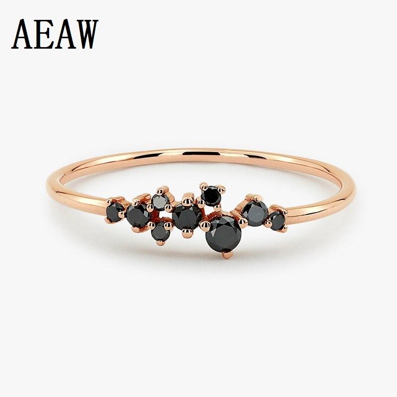 Black Diamond Cluster Ring 14k Rose Gold Wedding Ring Rose Gold Prong Setting Gift for Girlfriend Diamond Ring Support Customize black diamond cat hair ring