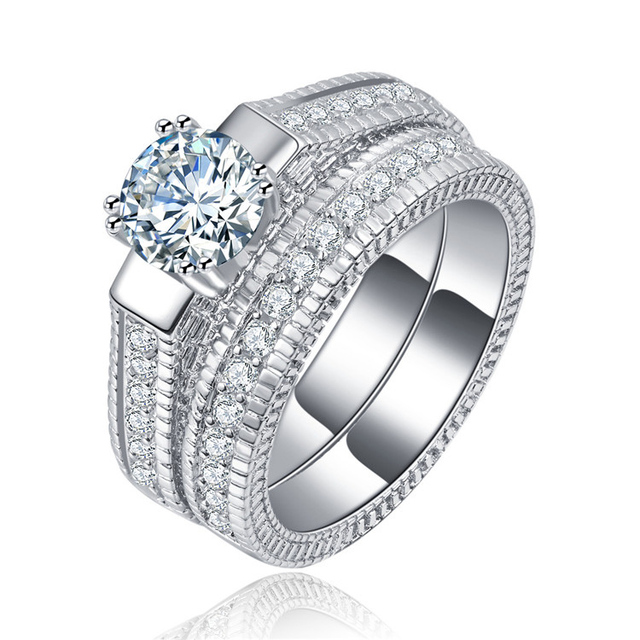 SHUANGR Classical Silver Color Wedding Ring Sets For Women Bijoux For Lady  Vintage Luxury Shiny CZ