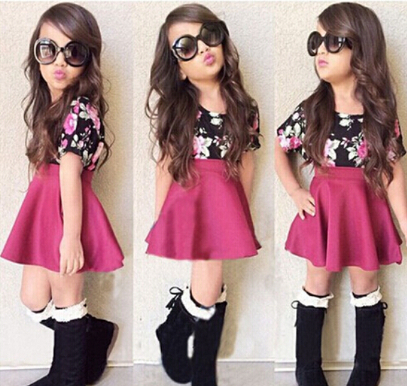 SQ191 2018 new summer girl dress solid color skirt + flower t-shirts of two pieces of children clothing set girls dress retail children s garment 2017 summer new pattern girl school the wind of cotton t straps cowboy skirt two pieces suit