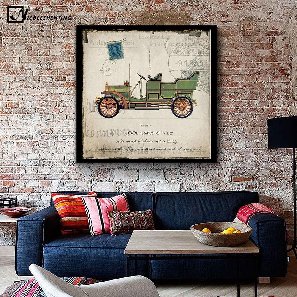 NICOLESHENTING Vintage Poster Klassische Autos Minimalistischen Kunst  Leinwanddruck Moderne Zuhause Wohnzimmer Wand Dekoration Stempel Sammlung  In ...