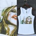 FashionThe belleza diseño Sólido chaleco singlet Tank top Mujeres algodón 95% O cuello marca top girls sexy elegante verano