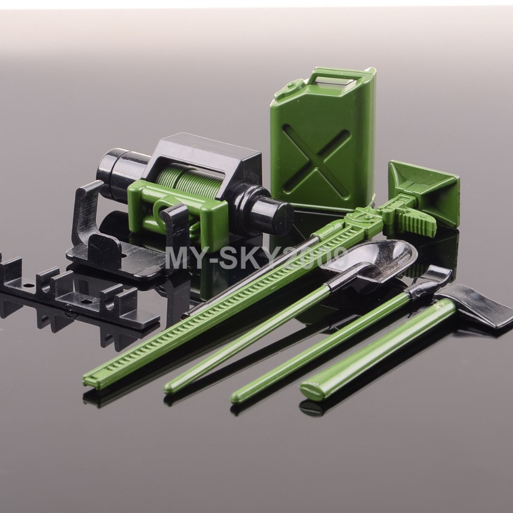 Green Winch Shovel Oiler Jack Hatchet For 1:10 RC Off-Road Truck SCX10 CC01 AX10 Rock Crawler TRAXXAS AXIAL Racing swag off road bottle jack axle cradle