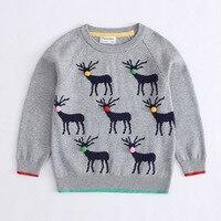 Chłopcy Swetry na Drutach Wzór Casual Chłopcy Swetry Jesień Zima Odzież Dla Dzieci Dziewczyny na Boże Narodzenie Deer Pompony New Arrival
