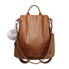 2018 Design Leather Women Backpack Casual School Bags For Teenagers Girls Travelling Back Packs Female Shoulders Bags hot C702(China)
