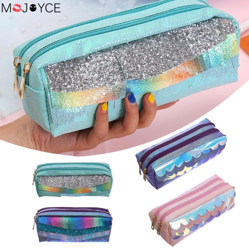 Large Capacity Laser Pencilcase Litchi Pattern Makeup Bag Women Portable Travel Cosmetics Pouch PU Leather Pen Bags Case Bolsas