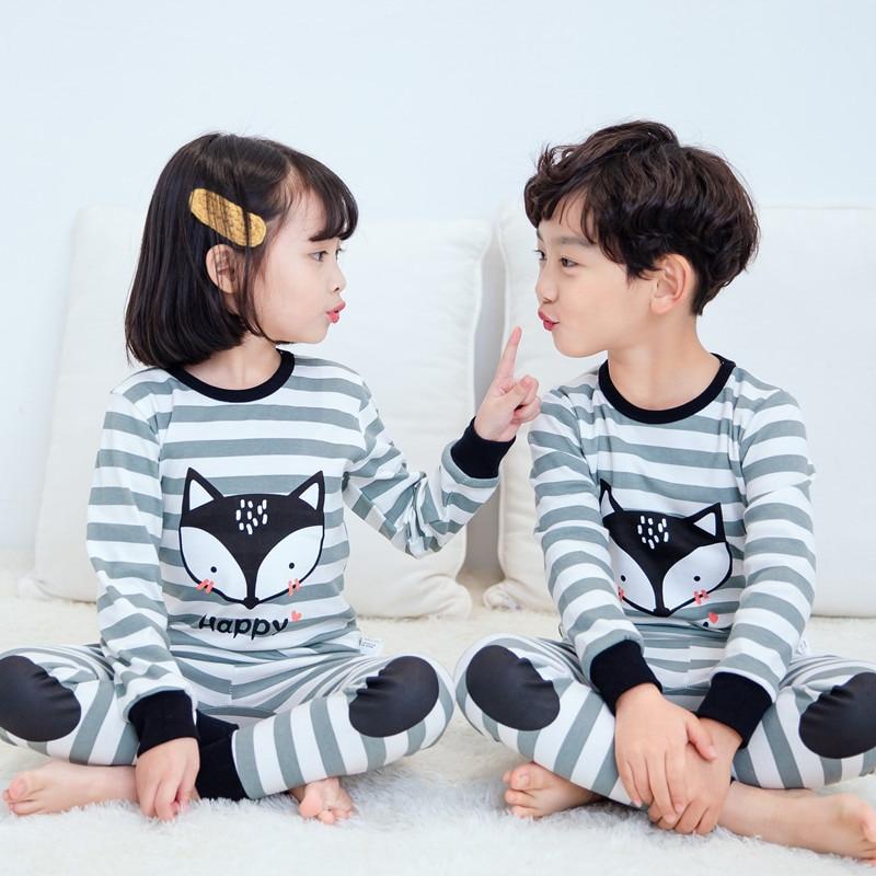 SAILEROAD Boys Girls Pajamas Set Children Cute Fox Pajamas Cotton Kids Long Sleeve Pyjamas Child Pijama Baby Sleepwear Clothing