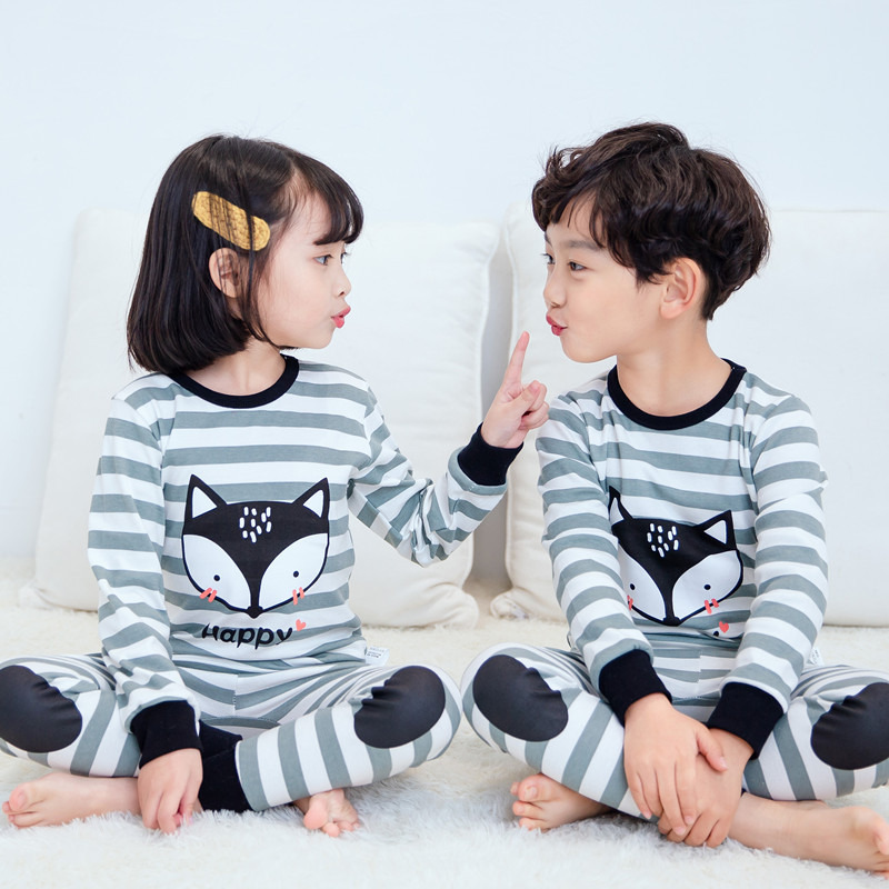 SAILEROAD pijamas para niños y niñas, lindos pijamas de zorro de algodón para niños, pijamas de manga larga, Pijama para niños, ropa de dormir para bebés