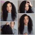 7A Peruano Rizado Rizado Pelucas Sedosa peluca del frente del cordón pelucas de cabello humano Completo para las mujeres negras Sin Cola peluca llena del cordón