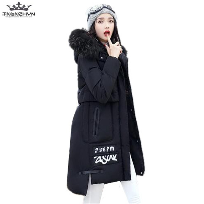 tnlnzhyn 2017 New Winter Women Jacket Coat Slim Fur Collar Medium Long Down Cotton Jacket Thick Warm Hooded Winter Coat Y647 перри энн казнь на вестминстерском мосту