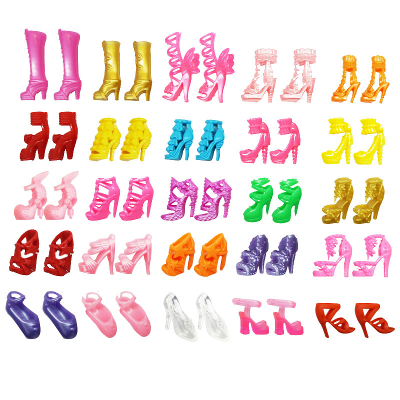 Original  Mix 20pcs-40pcs doll house Sandals For Decor Doll Toy Girls Dolls Accessories Play House Party Girls Gift