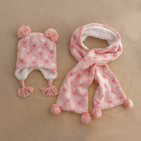 Baby Hat Scarf Set Love Bunny Jacquard Child Knit Cap Autumn Winter Hat Girls Hats Baby Clothing