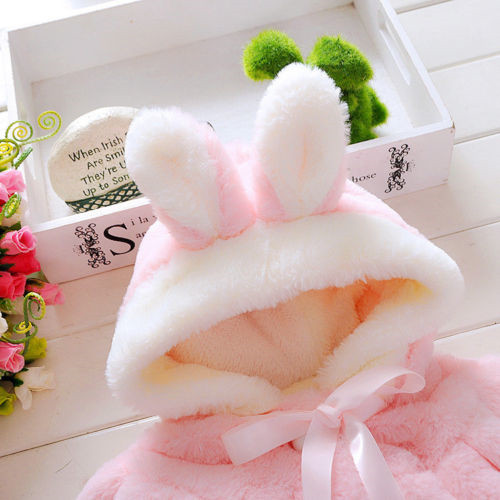 0 4Y Newborn Infant Kids Baby Girls Winter Fur Coat Cloak Bunny Ear Hooded Coat Warm Jacket Snowsuits Outwear Outfits Clothes in Down Parkas from Mother Kids