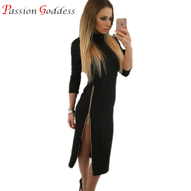 2016 Autumn Women Turtleneck Bodycon Long Dress Long Sleeve Front Zipper Sexy Midi Long Party Dress Elegant Pencil Dress Black