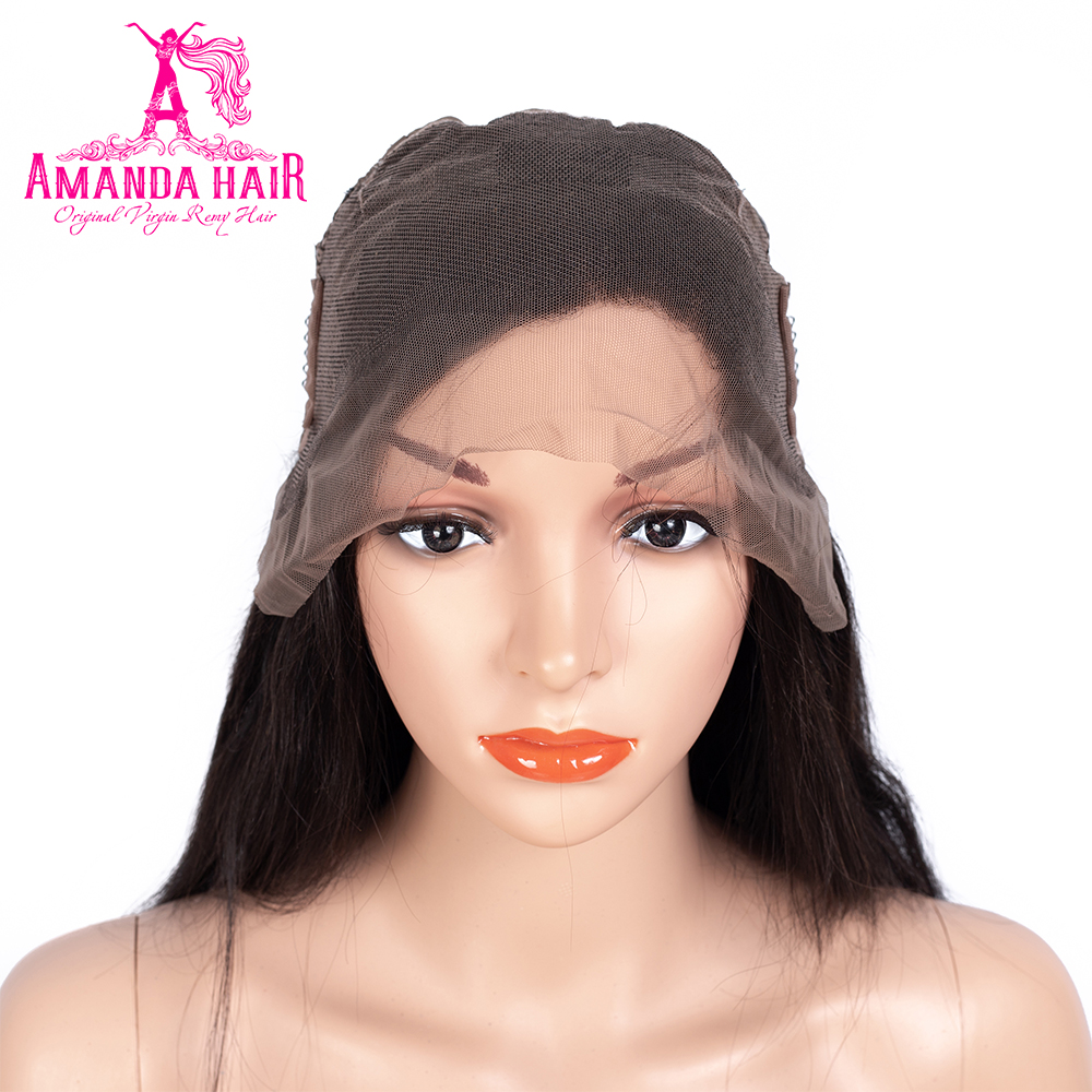 Amanda 360 Lace Frontal Human Hair Wigs with Adjustable Straps Average Size Malaysian Straight Remy Hair Wigs Natural Hairline