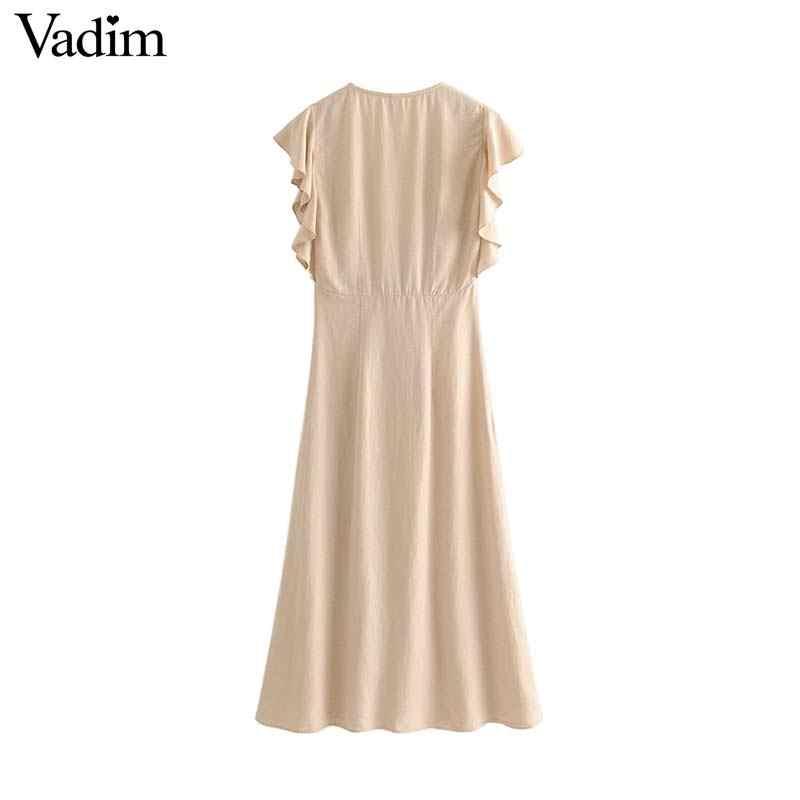 Vadim, женские винтажные однотонные миди платья с v-образным вырезом, без рукавов, женские повседневные Элегантные платья до середины икры, ТРАПЕЦИЕВИДНОЕ ПЛАТЬЕ QC517