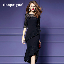 S-XXXL Large Size Asymmetrical Bandage Wrap Dress Women O-neck Half Sleeve Black Party Casual Midi Vestidos