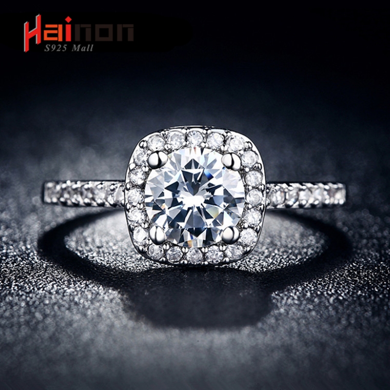 silver plated Plated Wedding Rings For Women Square Simulated zircon Jewelry Bague Bijoux Femme Engagement ring Accessories
