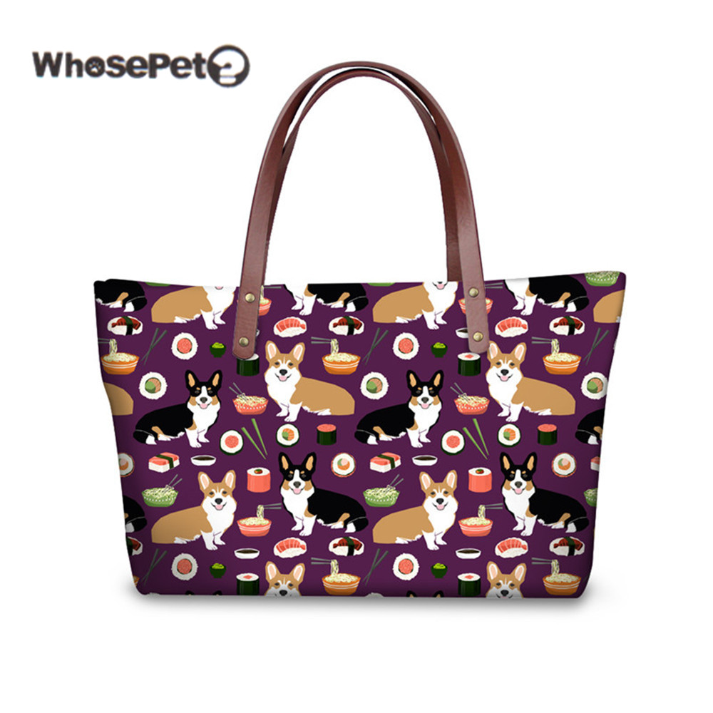 WHOSEPET Luxury Handbags Women Bags Designer For Shopping Cluth Bags Corgis Printed Bolso Mujer Shoulder Tote Bag Large Capacity women canvas stripe tote bags casual shopping bags simple shoulder bags lady handtassen sac bandouliere bolso mujer clutch