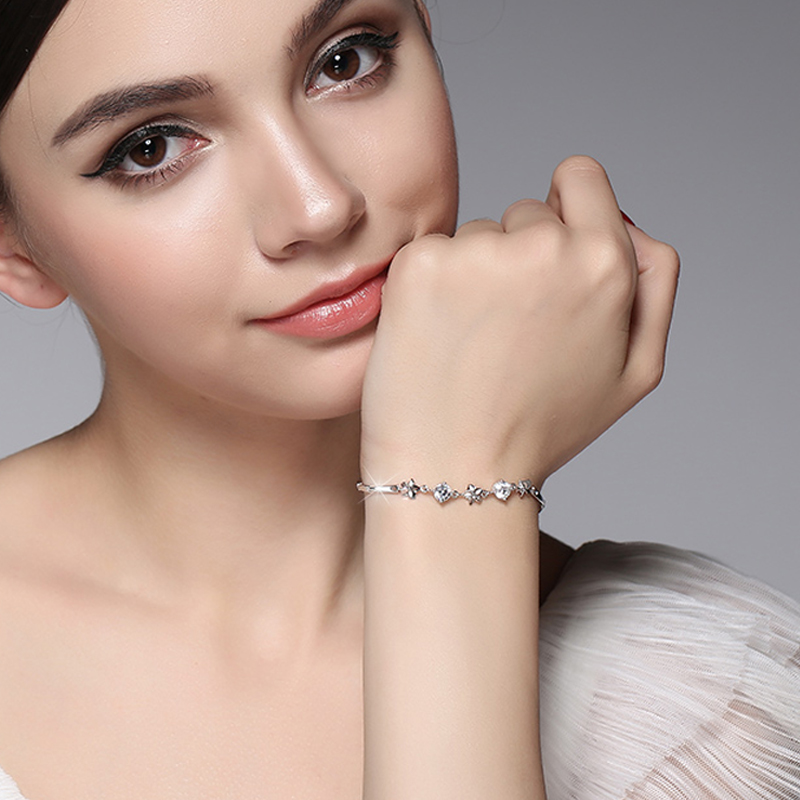 925 Sterling argent cinq fleurs haute qualité brillant blanc cristal bracelet simple version coréenne étudiants amoureux meilleurs cadeaux - 2