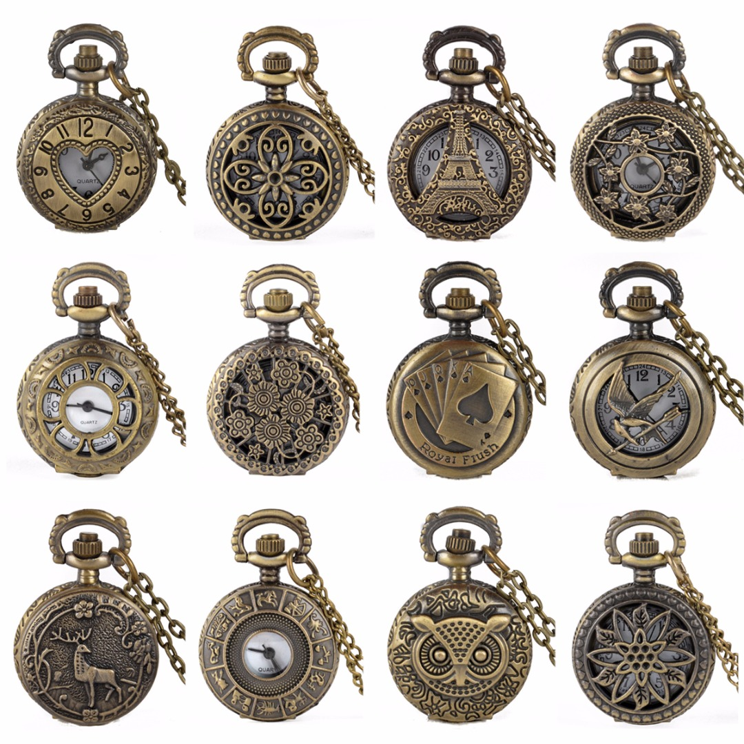 15 Styles Retro Pocket Watch Waterproof Vintage Antique Bronze Womens Mens Pocket Chain Necklace Quartz Watch