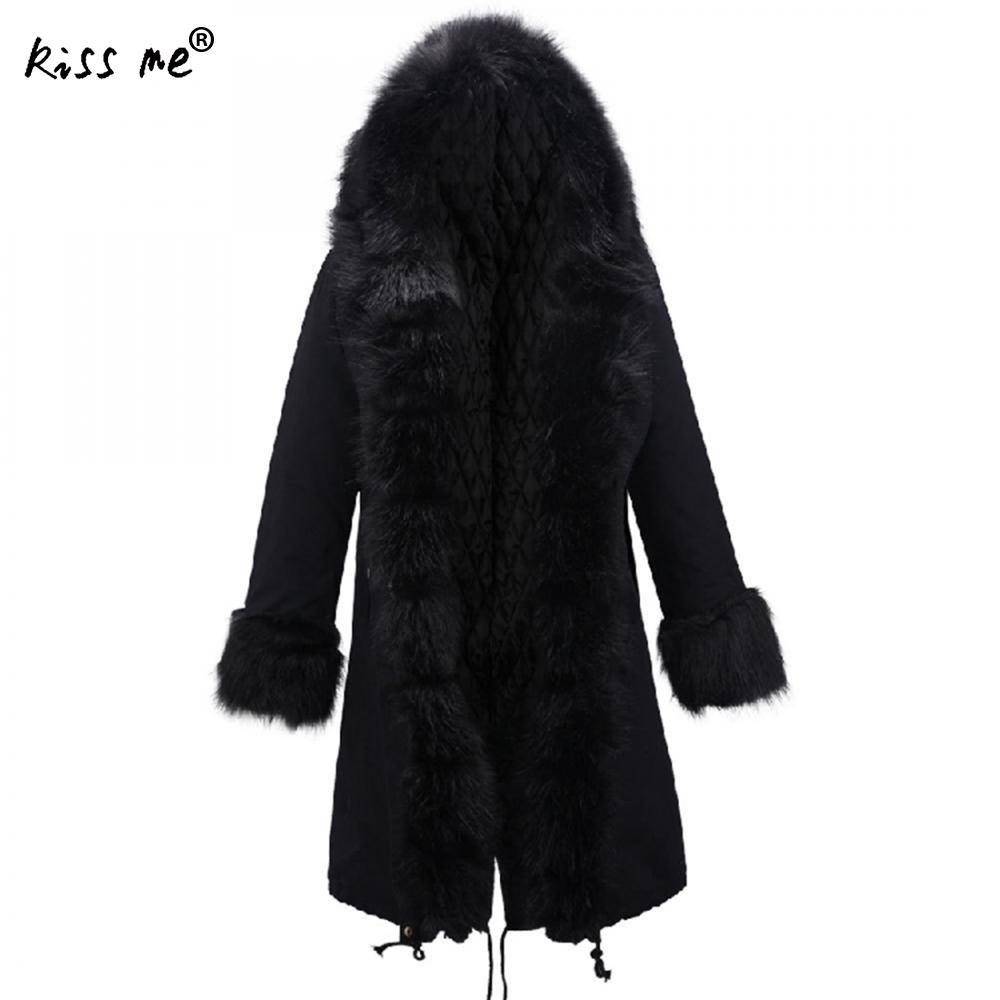 Long Sleeve Women Winter Jacket Cotton with detachable fur collar parka mujer Thicken Outerwear Women Parkas Solid Color XL XXL