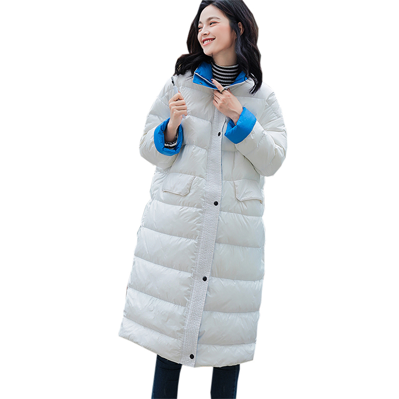 Ultra Light   Down   Jackets Women Long Stand Collar Loose   Down     Coat   90% White Duck   Down   Winter Female Plus Size   Down     Coats   YP2070