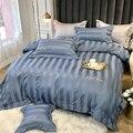 Роскошное постельное белье из египетского хлопка  с вышивкой  однотонное  для отеля  для дома  двуспальный простынь  пододеяльник  наволочки...