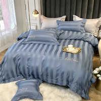 De lujo de algodón egipcio bordado de color sólido Hotel hogar ropa de cama reina rey tamaño de hoja funda nórdica fundas de almohada 4 piezas # s