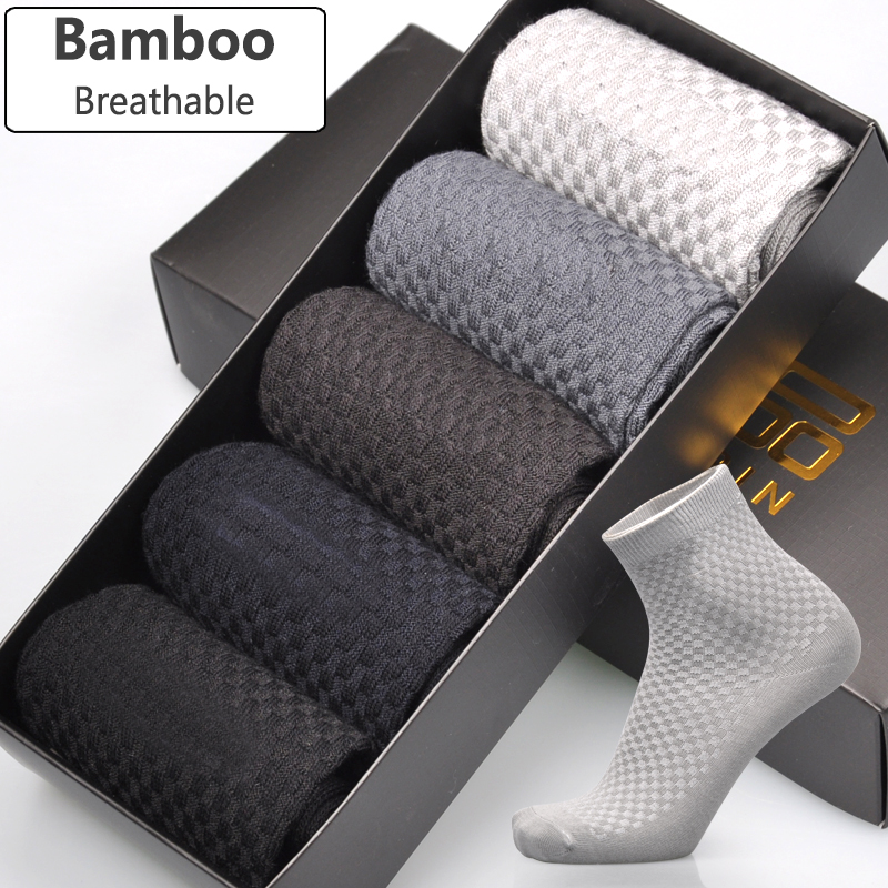Men Bamboo Fiber Socks Brand New Casual Business Anti-Bacterial Deodorant Breatheable Man Long Sock 5pairs / lot(China)