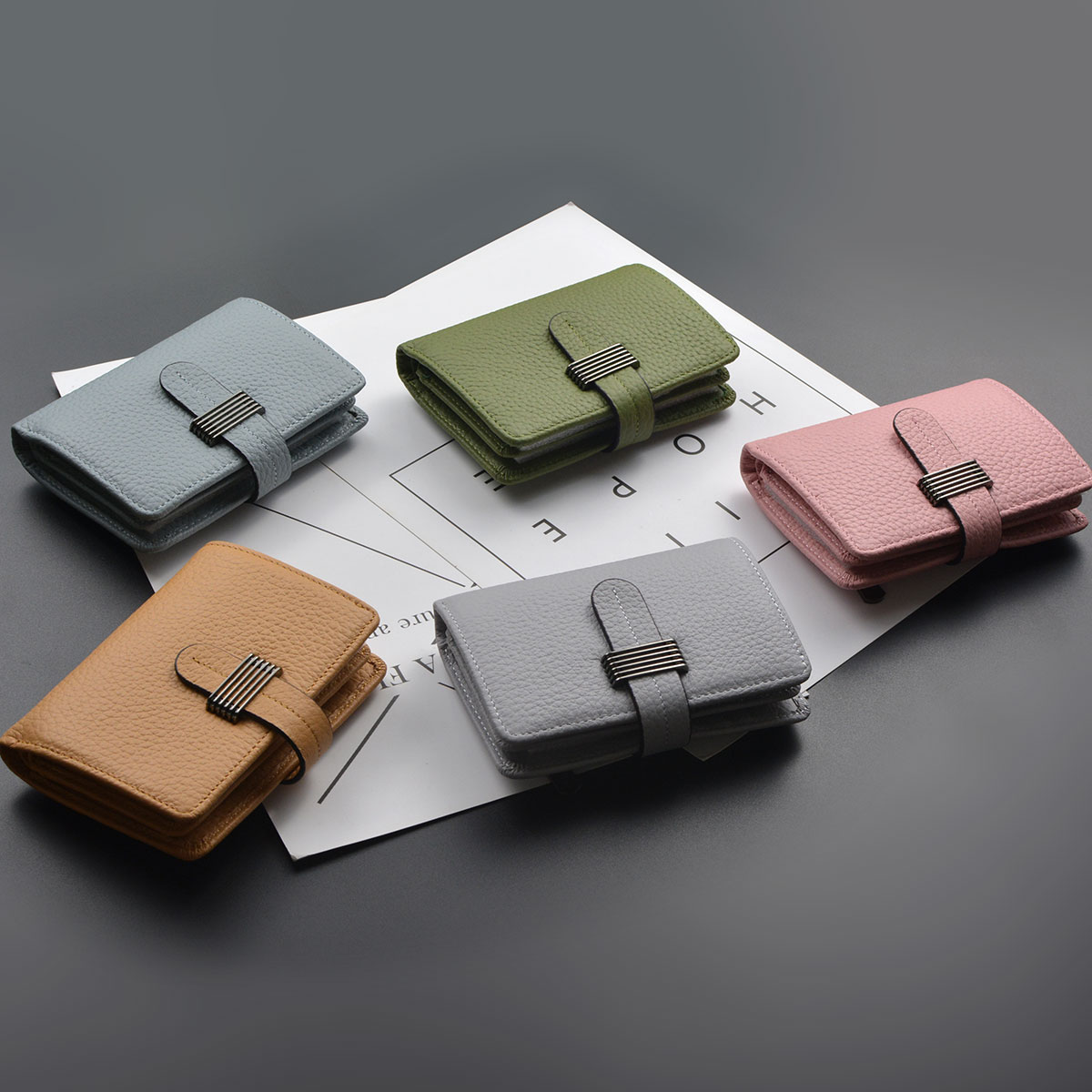 2018 Rushed Real Style Of European And American Minimalist, Seat Folding Leather, Lychee Stripe, Cowgirl, Short Wallet, Wallet.