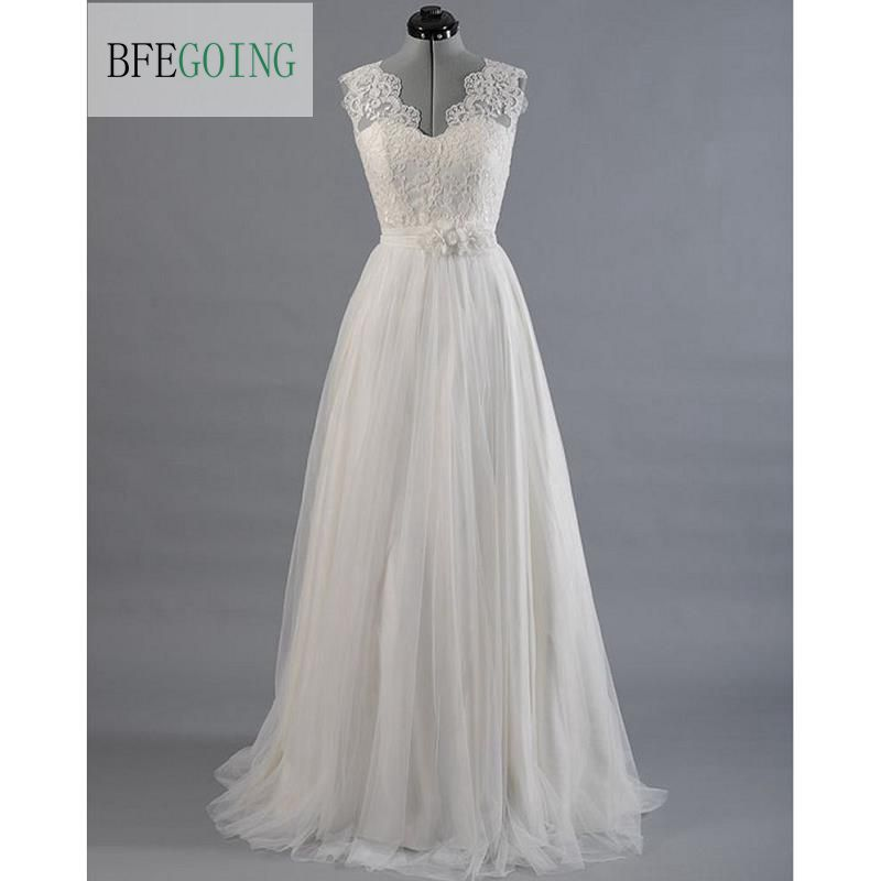 Ivory Lace Tullle V Neck Wedding dress Sweep Brush Train Floor Length Cap Sleeves Bridal Gown