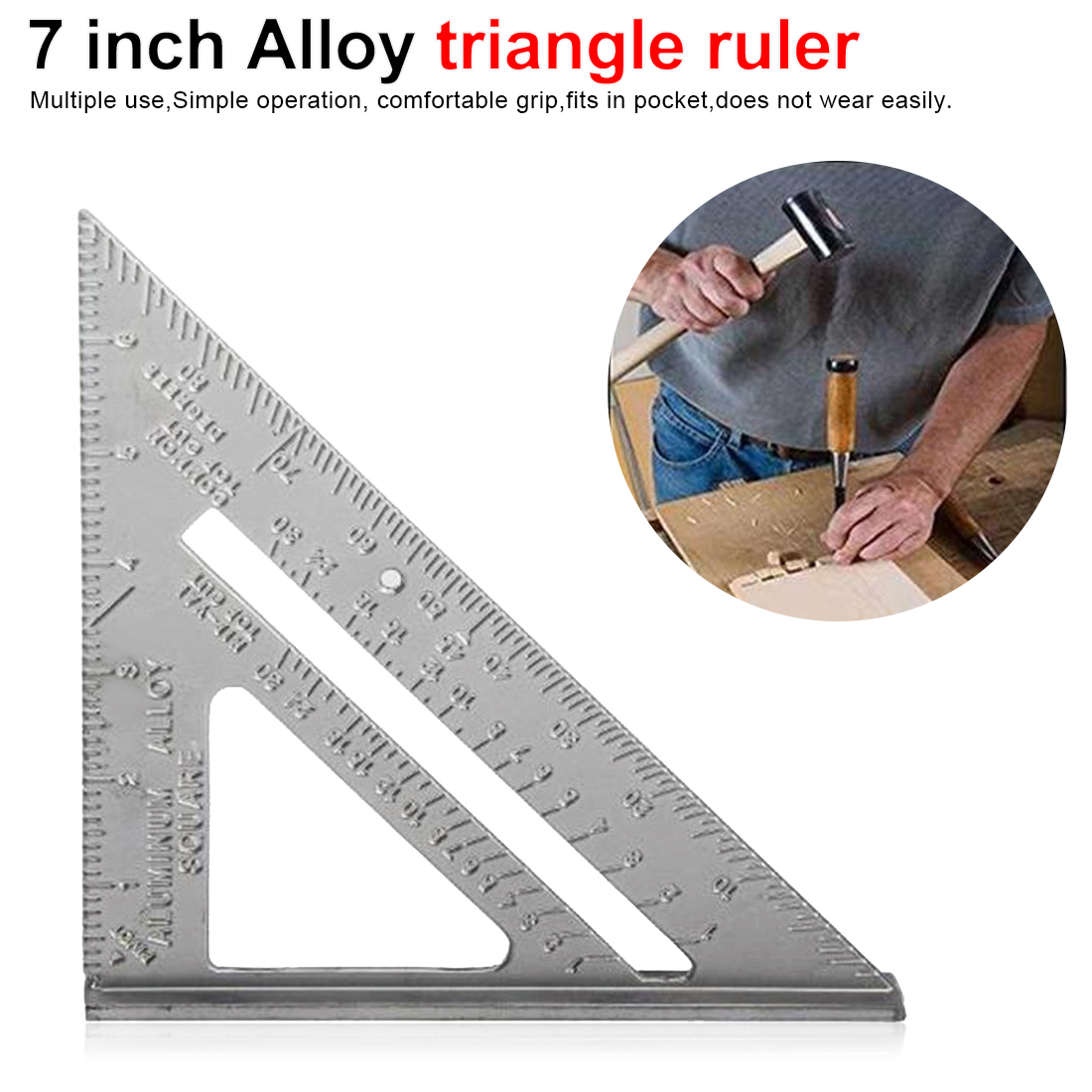 1 PcMeasuring Layout Tool 90 degree 7inch Aluminum Speed Square Triangle Angle Protractor Measuring Tool Multi-function Protract