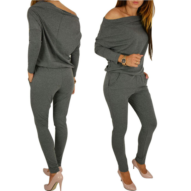 bd6f474656f Womens Sexy Jumpsuit Overalls Long Sleeve Casual Rompers Summer Off  Shoulder Jumpsuits Playsuit Bodysuit YF254