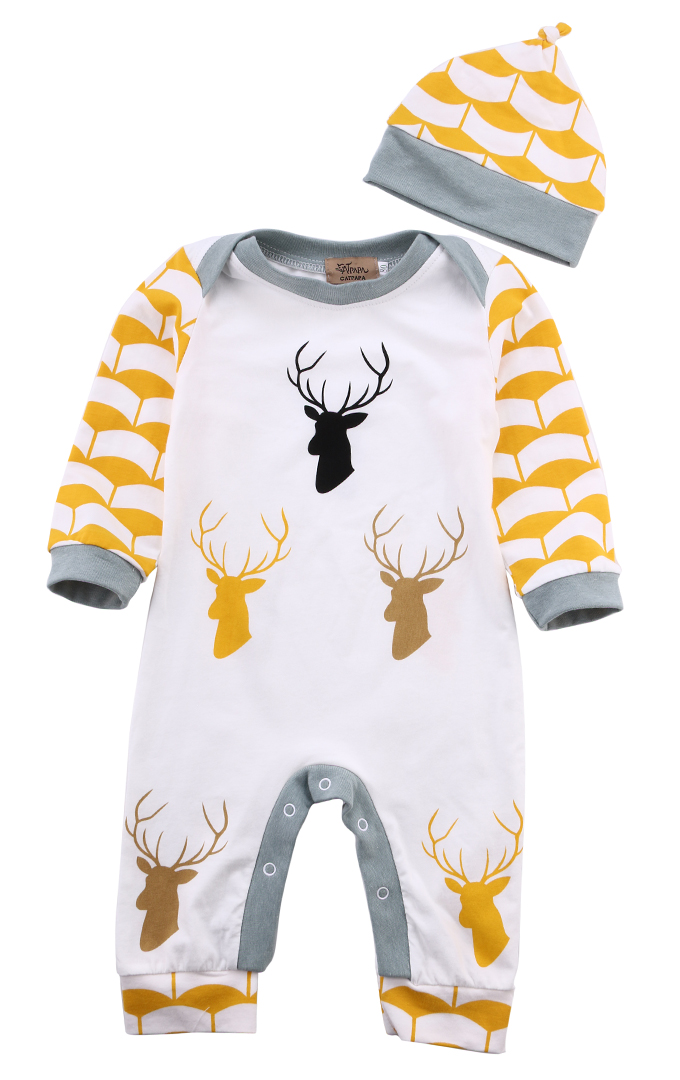 Newborn Baby Boys Girls Clothes Striped Deer Printed Long Sleeve Romper +Hat Jumpsuit Cotton Outfits Clothes