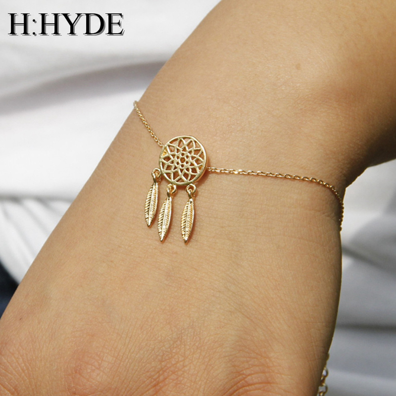 H:HYDE Gold Silver Color Dreamcatcher Charm Bracelets For Women Charm Bracelets & Bangles Dream Catcher Jewelry Gift for Girl